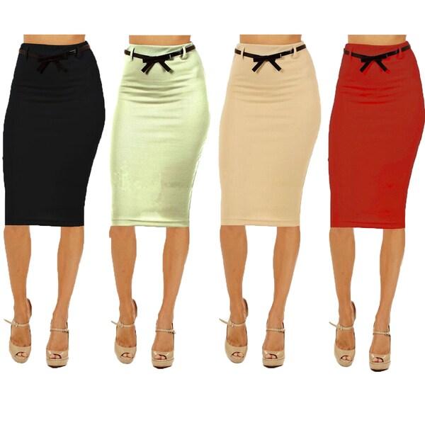 s high waist below knee pencil skirt pack of 4