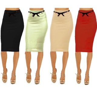 Women's High-waist Below-knee Pencil Skirt (Pack of 4)