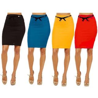 Women's Black/Blue/Yellow/Red High-waist Pencil Skirts (Pack of 4)