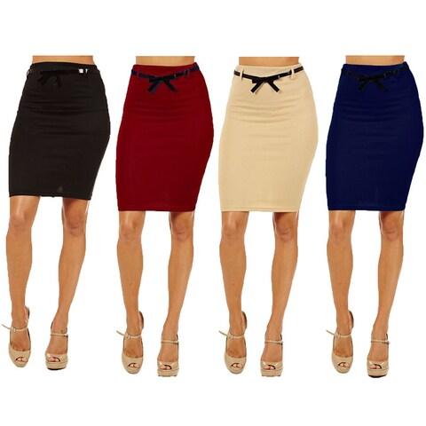 Women's High-waist Pencil Skirt (Pack of 4)