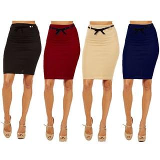 Women's High-waist Pencil Skirt (Pack of 4) (Option: S)