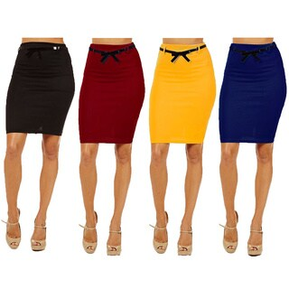 Women's Multicolor Rayon/Spandex High-waist Pencil Skirt (Pack of 4)