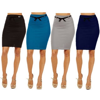 Women's Assorted Rayon-blend Pack of 4 High-waist Pencil Skirts
