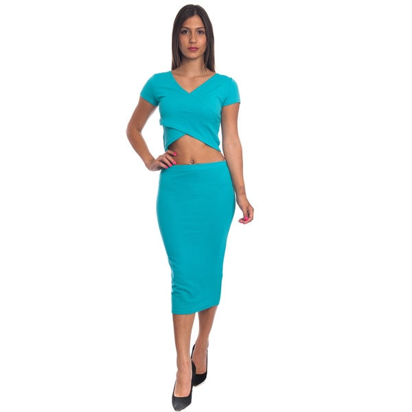 8e732909f82da Shop Special One Women s 2-piece Bodycon Crop Top and Mini Skirt Set ...
