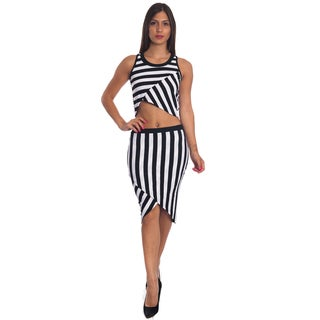 Special One Women's Blue/Red/Black Cotton/Polyester Sexy Bodycon Crop Top and Mini Skirt Outfit Dress 2-piece Set