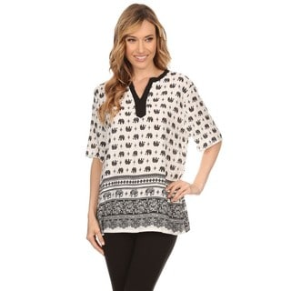 High Secret Women's White/Black Cotton/Polyester Elephant-print Short-sleeve Blouse