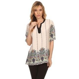High Secret Women's Short-sleeved Beige Cotton-blended V-neck Floral-print Blouse