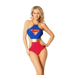 Women's Superman Blue Spandex Monokini Swimsuit
