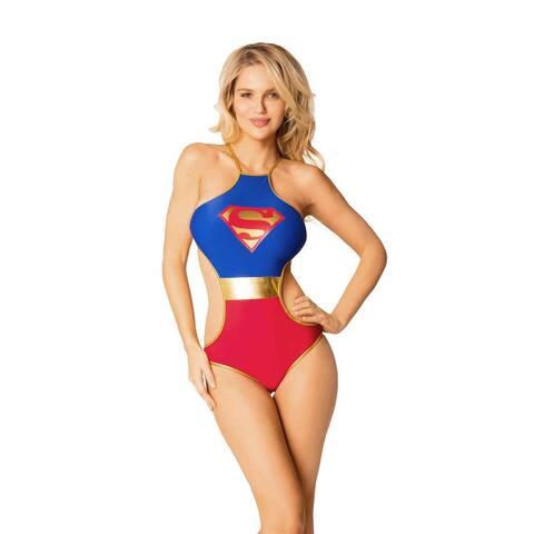 Women's Superman Blue Spandex Monokini Swimsuit