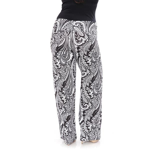 31a23e63848621 White Mark Women's Black and White Paisley-print Polyester and Spandex Plus-size  Palazzo