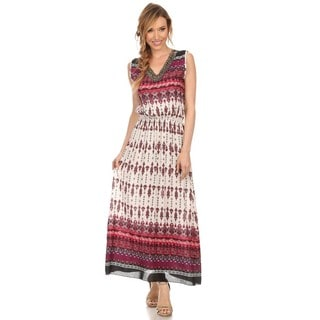 High Secret Women's Multicolored Geometric-print Cotton/Polyester Sleeveless V-neck Maxi Dress