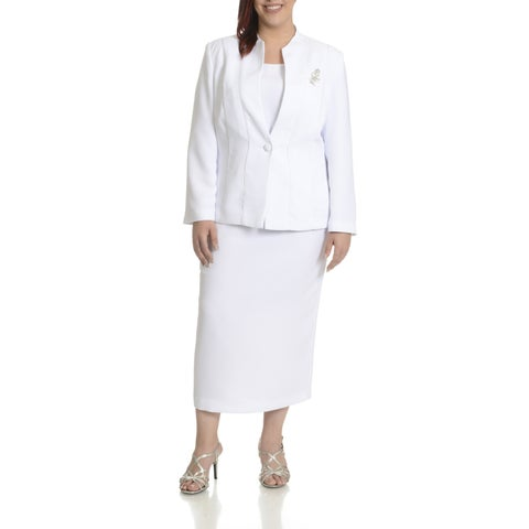 Giovanna Signature Women's Plus Size Piping Detail 3-piece Skirt Suit