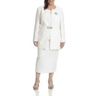 Giovanna Signature Women's Plus-size Textured Three-piece Skirt Suit