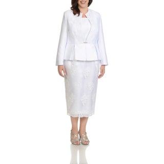 Ella Belle Women's Plus Size Embellished Peplum 3-piece Skirt Suit (More options available)