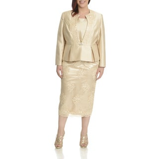 Ella Belle Women's Plus Size Embellished Peplum 3-piece Skirt Suit