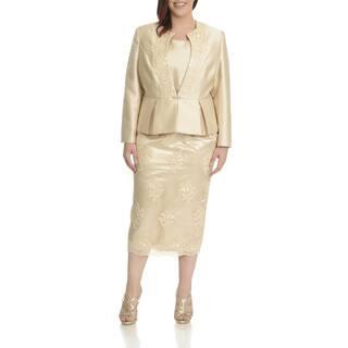 Ella Belle Women's Plus Size Embellished Peplum 3-piece Skirt Suit|https://ak1.ostkcdn.com/images/products/11999373/P18878154.jpg?impolicy=medium