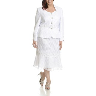 Ella Belle Women's White Polyester Plus-size 2-piece All-over Cut-out Detail Skirt Suit