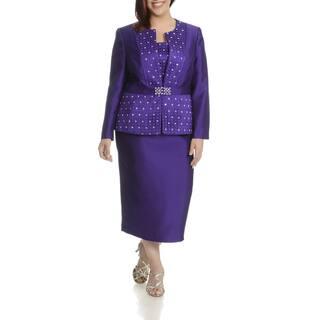 Ella Belle Women's Black Polyester Plus-size Rhinestone-embellished 3-piece Skirt Suit|https://ak1.ostkcdn.com/images/products/11999375/P18878156.jpg?impolicy=medium
