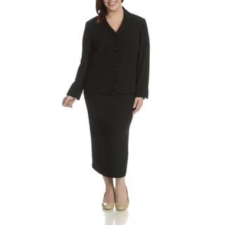 Giovanna Signature Women's Black Polyester Plus Size 2-piece Skirt Suit