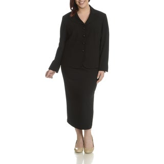 Giovanna Signature Women's Polyester Plus Size 2-piece Skirt Suit