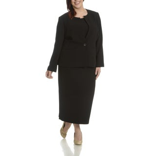 Giovanna Signature Women's Plus Size Round Neck 2-pocket 3-piece Skirt Suit