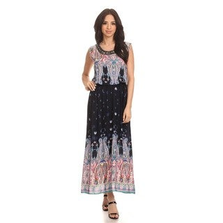 High Secret Women's Multicolor Cotton and Polyester Embellished Geometric Sleeveless Maxi Dress