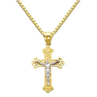14k Two-Tone Gold Jesus Crucifix Cross Religious Pendant with 1.5-mm Flat Wheat Chain