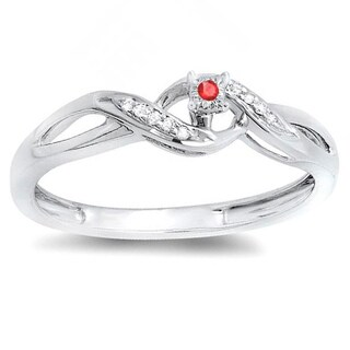 Sterling Silver 1/20 ct Round Ruby and White Diamond Ladies Crossover Swirl Bridal Promise Engagement Ring