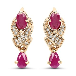 Malaika 14k Yellow Gold 1.12 Carat Genuine Ruby and White Diamond Earrings