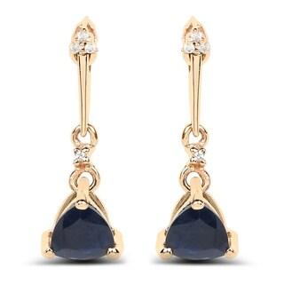 Malaika 14k Yellow Gold 0.92 Carat Genuine Blue Sapphire and White Diamond Earrings