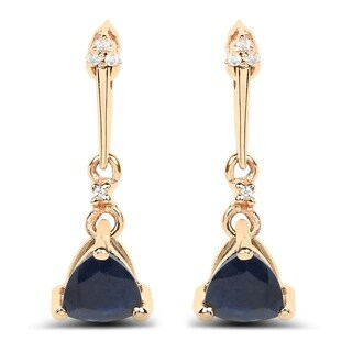 Malaika 14k Yellow Gold 0.92 Carat Genuine Blue Sapphire and White Diamond Earrings