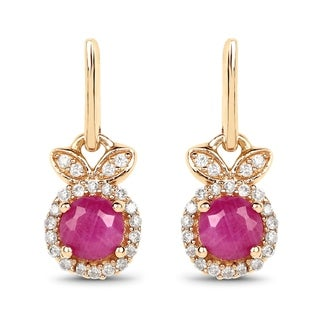 Link to Malaika 14k Yellow Gold 0.73-carat Genuine Ruby and White Diamond Earrings Similar Items in Earrings