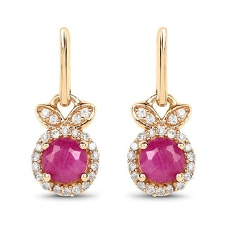 Malaika 14k Yellow Gold 0.73-carat Genuine Ruby and White Diamond Earrings