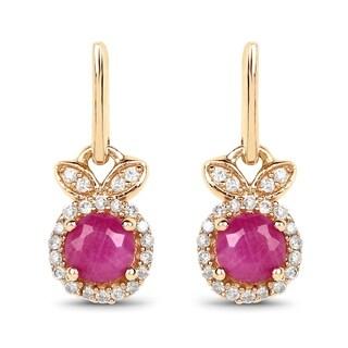 Malaika 14k Yellow Gold 0.73-carat Genuine Ruby and White Diamond Earrings
