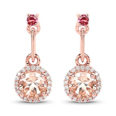 Malaika 14k Rose Gold 1.03-carat Genuine Pink Morganite/Tourmaline/White Diamond Earrings