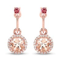 Malaika 14k Rose Gold 1.03-carat Genuine Pink Morganite/Tourmaline/White Diamond Earrings