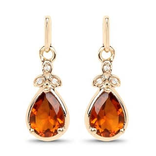 Malaika 14k Yellow Gold 1.32-carat Genuine Yellow Citrine and White Diamond Earrings
