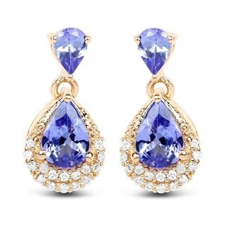 Malaika 14k Yellow Gold 1.12k Genuine Blue Tanzanite and White Diamond Earrings