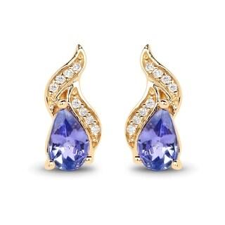 Malaika 14k Yellow Gold 0.79 Carat Genuine Tanzanite and White Diamond Earrings