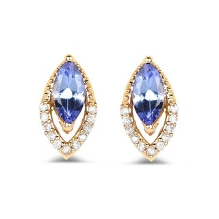Malaika 14k Yellow Gold 0.55-carat Genuine Tanzanite and White Diamond Earrings