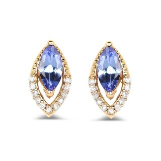 Malaika 14k Yellow Gold 0.55-carat Genuine Tanzanite and White Diamond Earrings