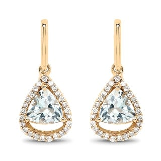 Malaika 14k Yellow Gold 1.05-carat Genuine Aquamarine and White Diamond Earrings