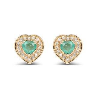 Malaika 14k Yellow Gold 0.60-carat Genuine Green Zambian Emerald and White Diamond Earrings