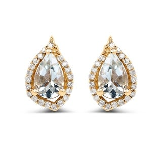 Malaika 14k Yellow Gold 0.83ct Aquamarine and White Diamond Earrings