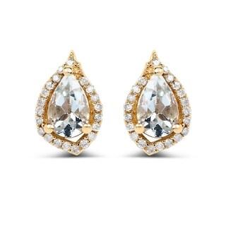 Malaika 14k Yellow Gold 0.83ct Aquamarine and White Diamond Earrings