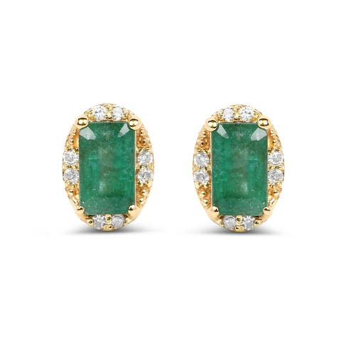 Malaika 14k Yellow Gold 0.61 Carat Genuine Zambian Emerald and White Diamond Earrings