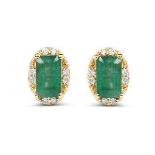 Malaika 14k Yellow Gold 0.61 Carat Genuine Zambian Emerald and White Diamond Earrings