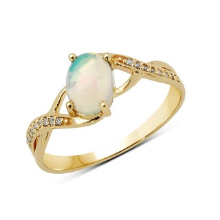 Malaika 14-carat Yellow Gold 0.53-carat Ethiopian Opal and White Diamond Ring