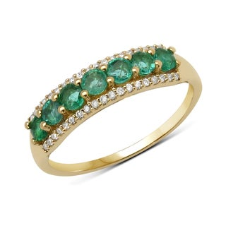 Malaika 14k Yellow Gold 0.60-carat Genuine Zambian Emerald and White Diamond Ring
