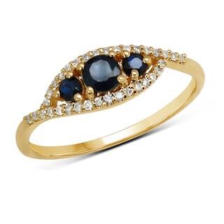 Malaika 14k Yellow Gold 0.47-carat Genuine Blue Sapphire and White Diamond Ring